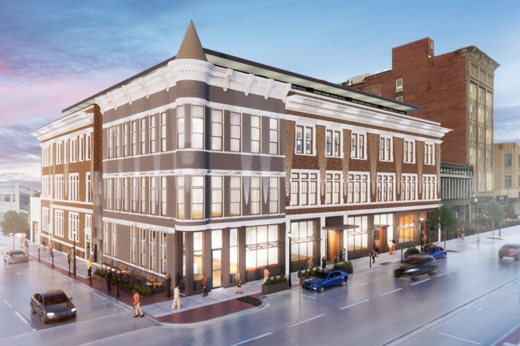 A rendering of the planned $22.5 million redevelopment of the old Covington YMCA building.