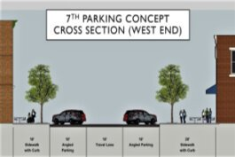 One design concept proposes angled parking and expanded sidewalks.