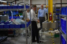 Wes Morin, VP of operations at AquiSense Technologies, demonstrates the company's new sterilization product.