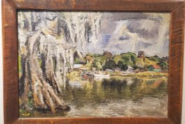 "Hubbard's ""Untitled Louisiana Bayou Scene,"" oil on masonite."