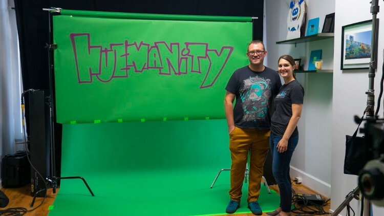 "Spotted Yeti founder Molly Berrens and illustrator Matthew Grote were on the team that created the ""HueManity"" motion graphics to be projected onto the National Underground Railroad Freedom Center."