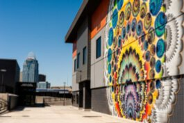 PromoWest Pavilion features a mural by Miami artist Hoxxoh.