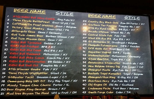Ei8htball's taproom has more than 40 beers on tap