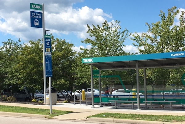 New shelters and signage were installed earlier this year along TANK's busy Route 1