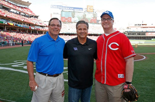 Garren Colvin (left) joined UK Coach John Calipari and Chamber President Trey Grayson to lead NKY Night at the Reds