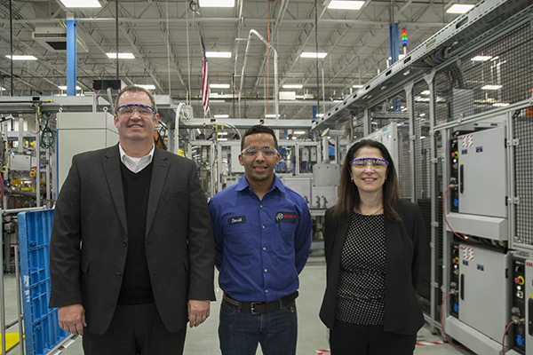 (L-R) Wade Williams from Tri-ED, trainee David Navarrete and Mary Grace Cassar from Bosch