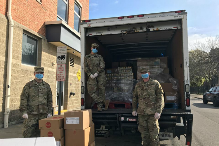 The Kentucky National Guard sent members to help food banks around the region, including the Brighton Center.