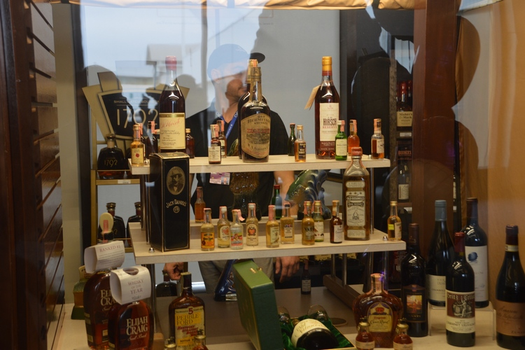A display of antique bourbons available at the Cork 'N Bottle's CVG location