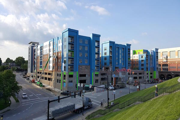 Aqua On the Levee is one Newport project nearing completion