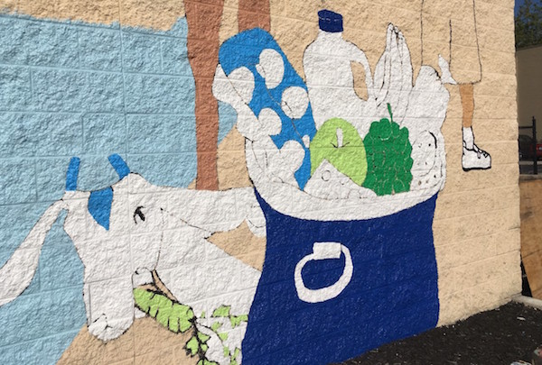 "A Goebel Goat is included in the ""Love the Cov"" mural"