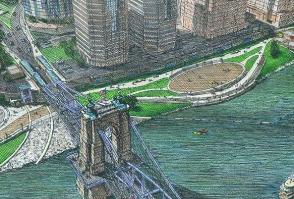 Rendering of the proposed riverfront park in Covington