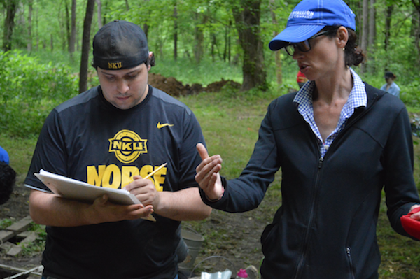 Dr. Sharyn Jones and an NKU student at the excavation site