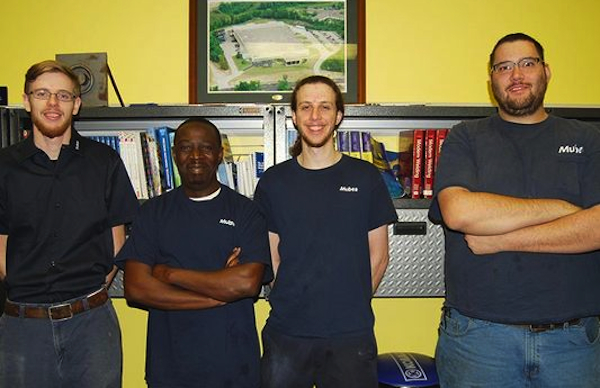 Matt Ryan (second from right) and fellow Mubea apprentices-turned-employees