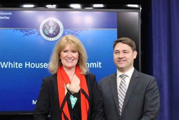 Confluence director Melinda Kruyer poses with New England Water Innovation's Michael Murphy after White House summit