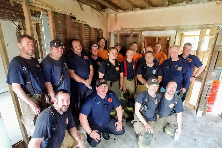 Some of the firefighters from Campbell County and Melbourne who turned out in Silver Grove Saturday.