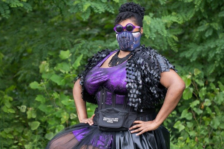 Writer Aiesha D. Little in cyber punk pandemic princess warrior gear (photo has been cropped)