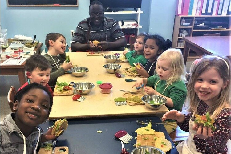 Kids learn how to prepare — and eat! — healthy food.